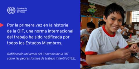 El Convenio núm. 182 de la OIT sobre trabajo infantil logra la ratificación universal
